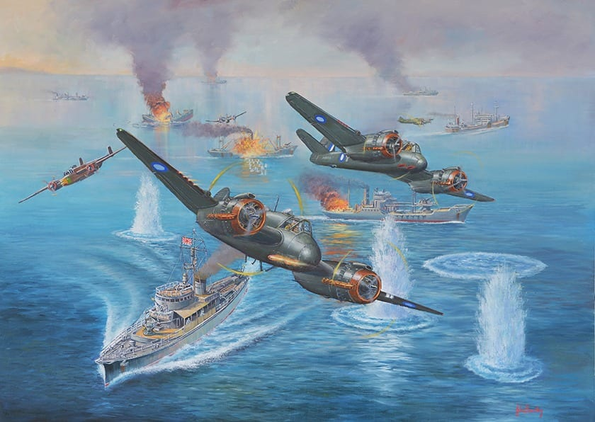 Battle of the Bismarck Sea planes painting John Bradley