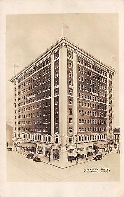 Davenport-Iowa-Blackhawk-Hotel-Vintage-1920s-Cars-Real-Photo-Postcard-RPPC