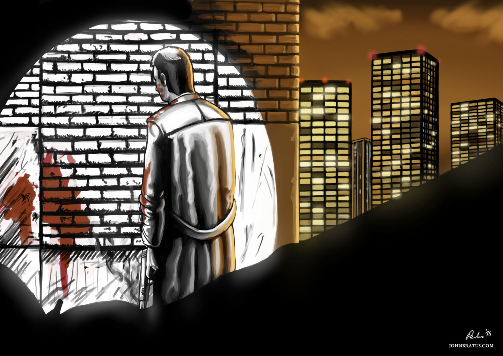 Neo-noir digital painting of a man standing in a back alley after committing a murder