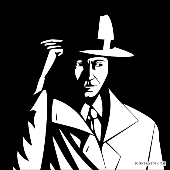Neo-noir vector logo of a private detective tilting his hat, black background version
