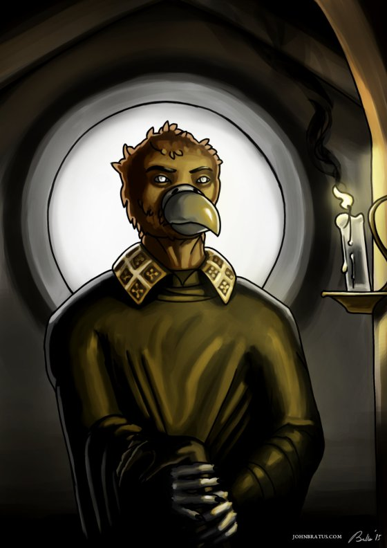 Digital painting of an anthropomorphic griffin in a gloomy monastery, tending the sick