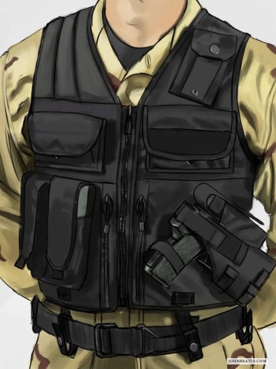 Digital sketch of a military tactical vest and attached pouches