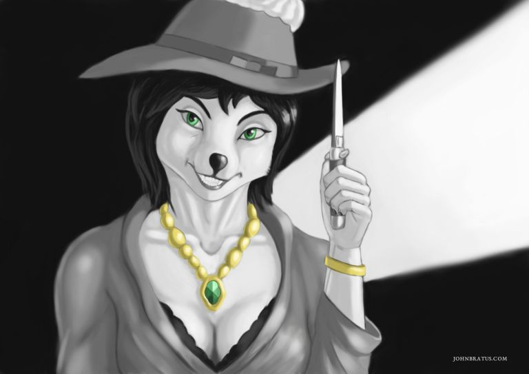 Digital painting of an anthropomorphic fox / wolf hybrid, holding a stiletto and grinning