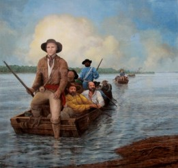 George Rogers Clark exploring  Paducah  area flood wall mural.