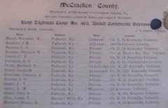 McCracken County Lloyd Tilghman Camp No. 463, United Confederate Veterans. At Lloyd Tilghman House & Civil War Museum.