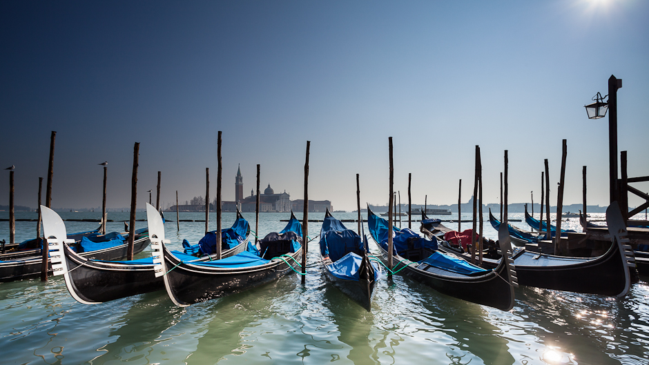 A photo of gondolas near Piazza San Marco (Saint Marco Square) in Venice, Italy