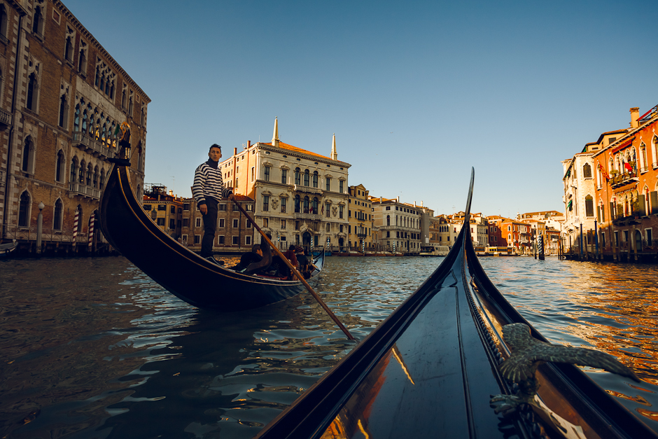 Photograph of two gondolas on the Grand Canal in Venice, Italy