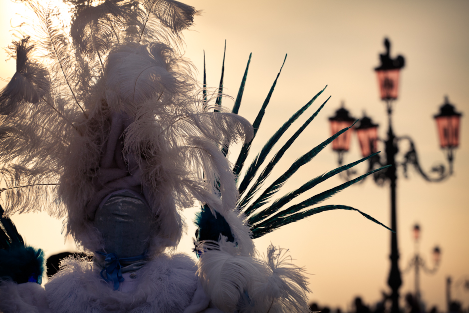Photograph of a carnival costume in Venice from behind against the sun