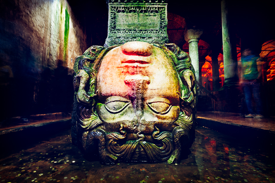 Photograph of the upside down Medusa head in The Basilica Cistern (Yerebatan Sarnıcı) in Istanbul