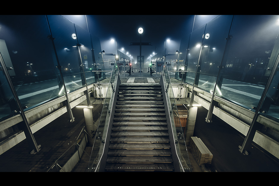 A photograph of a Foggy Amsterdam Centraal Train Station