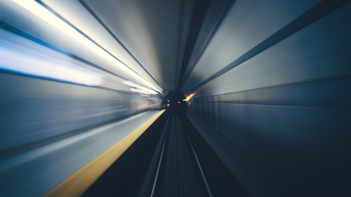 A long exposure of a toronto subway tunnel from a moving train