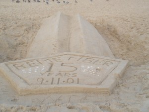 World Trade Towers Sand Sculpture at Rehoboth Beach