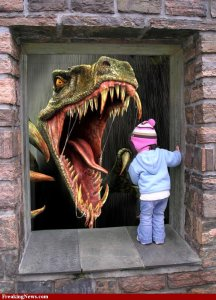 Child-Looking-at-Dinosaur-Through-Window--61512
