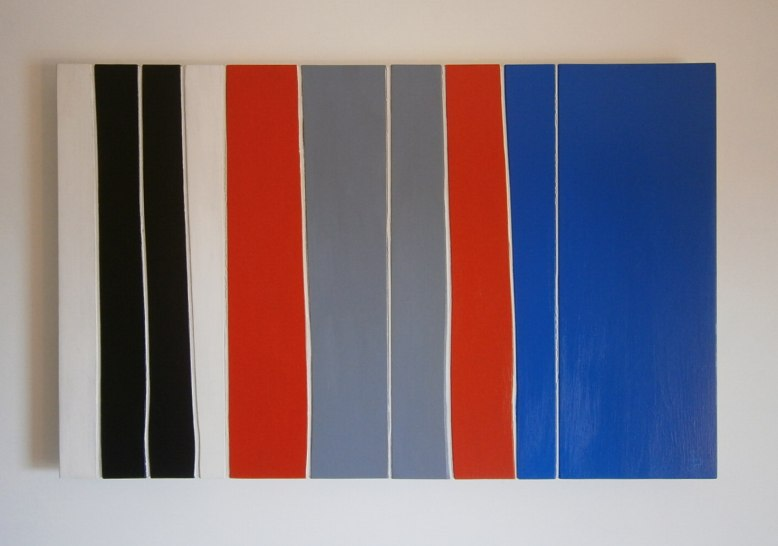 Stripe abstract painting in wood.