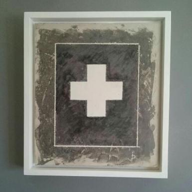 Abstract Painting of Cross Shape