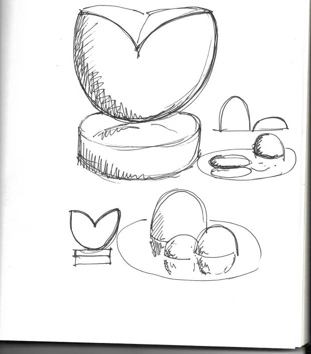 """Sketch of """" Cut"""" Abstract Stone Sculpture."""