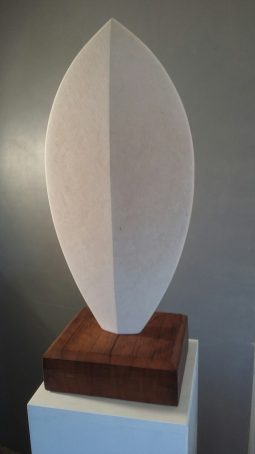 Abstract Sculpture of Shield Form in Stone.