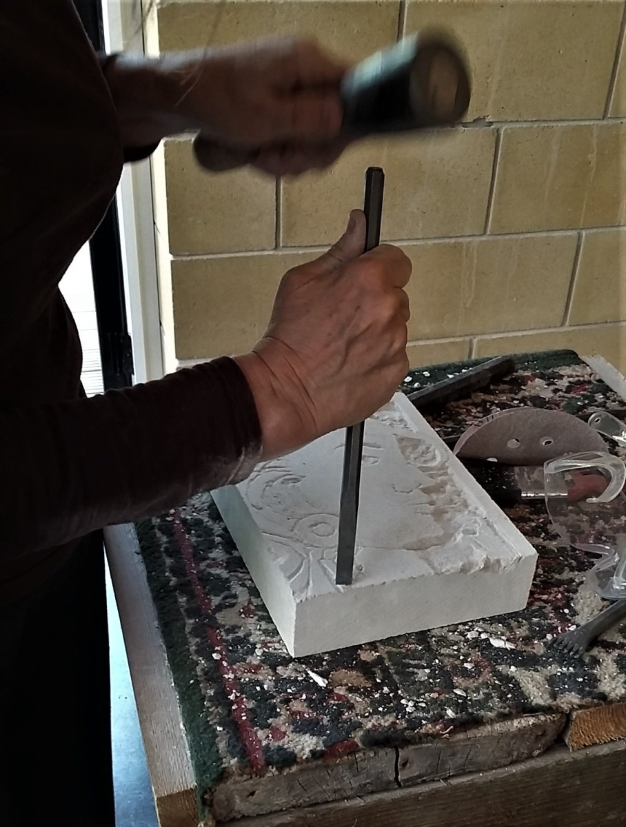 Student Carving Portland Stone at Whitestones Studio Tutored by John Davey