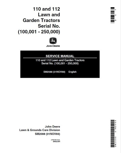 John Deere 110,112 Lawn Garden Tractors Service Manual