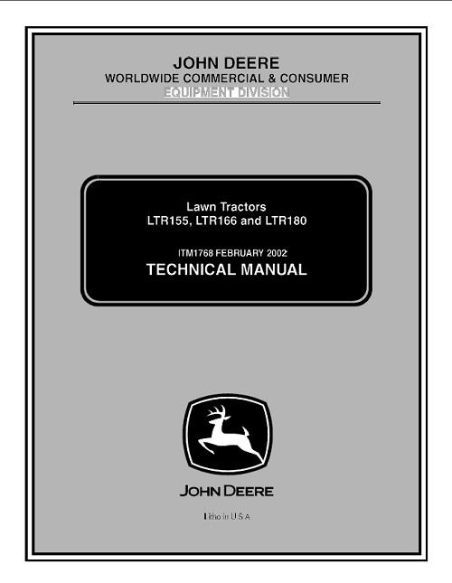 John Deere Ltr155 Ltr166 Ltr180 Lawn Tractor Technical