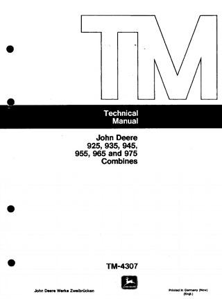 John Deere 925, 935, 945, 955, 965, 975 Combines Technical