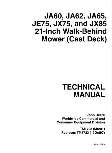 John Deere JA60, JA62, JA65, JE75, JX75, JX85 21-Inch Walk