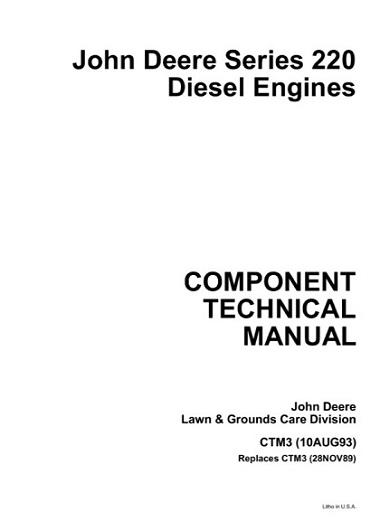 John Deere Series 220 Diesel Engines CTM3 Technical Manual