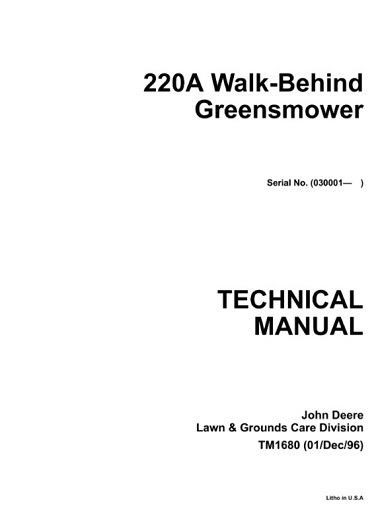 John Deere 220A Walk-Behind Greensmower Technical Manual