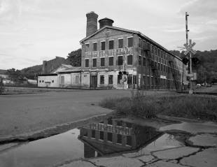 9-7-2014 W.B. Davis Hosiery Mill-Fort Payne AL-Pentax 6x7-45mm-sunset-Ilford Delta 100 film-PMK Pyro developer.
