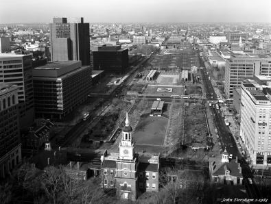 2-1-1983 Independence Hall and Park-Philadelphia Pennsylvania-Linhof Technika-120mm Schneider Symmar S lens- K2 filter Kodak Tri X Pan Pro 4x5 film-Kodak-HC110B developer.