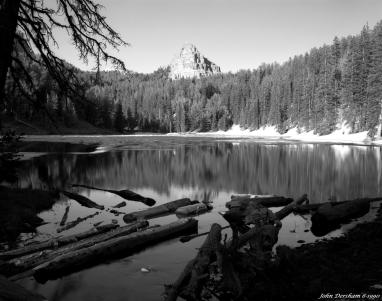 6-24-1990 Frozen Lake in June-Shoshone National Forest-Contential Divide 10,000 ft.-Wyoming-Linhof Technika V 4x5 camera-120mm Schneider Symmar S lens-Kodak Tmax100 4x5 film-Kodak Tmax RS developer.