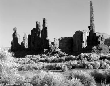10-3-1993 Monument Valley-Totempoles-Linhof Technika V 4x5 camera-300mm Schneider Xenar lens-G filter-Kodak Tmax 100 4x5 film-PMK Pyro developer.