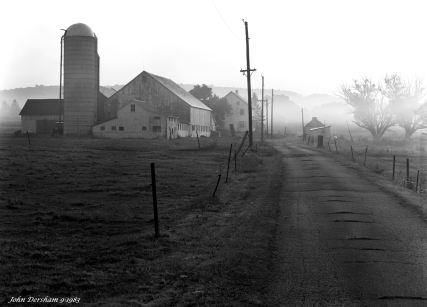9-18-1983 Foggy Pennsylvania farm scene at sunrise -Cambo SC 4x5 view camera-300mm Schneider Xenar lens-Kodak Tri X Pan Pro 4x5 film-Kodak HC110B developer.