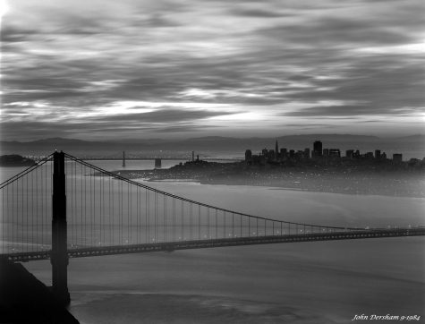 9-29-1984 Golden Gate San Francisco California-just getting daylight-Linhof Technika V 4x5 camera-300mm Schneider Xenar lens-K2 filter-Kodak Tri X Pan Pro 4x5 film-Kodak HC110B developer.