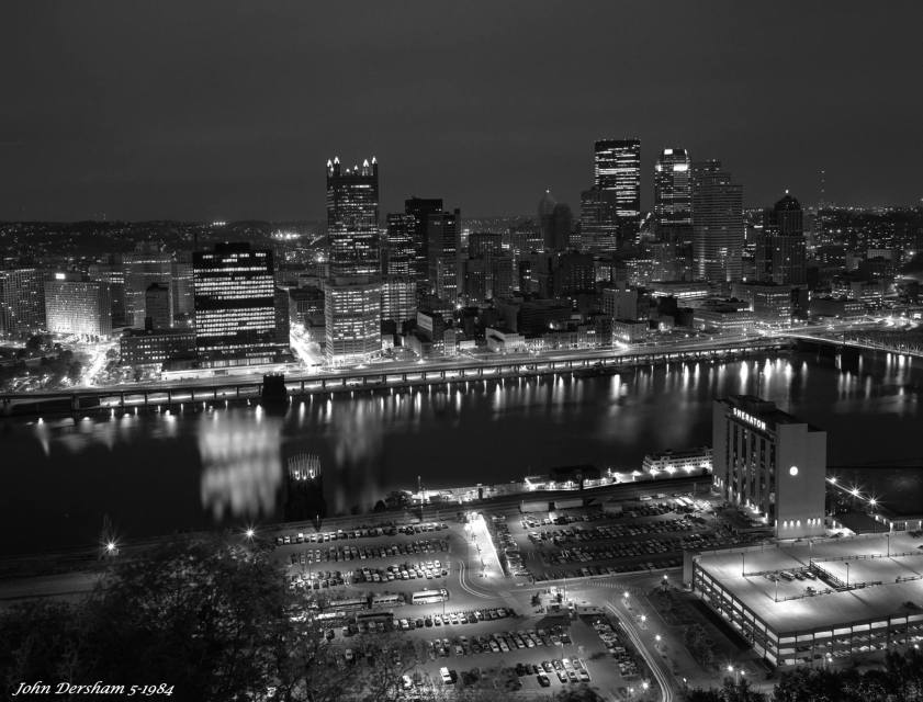 5-16-1984 Pittsburgh Pennsylvania at night-Linhof Technika V 4x5 camera-90mm Schneider Super Angulon lens-Kodak Tri X Pan Pro 4x5 film-Kodak HC110B developer.