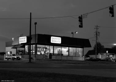 10-14-1990 Dunkin Donuts pre dawn-Homewood Alabama-Linhof ST 4x5 view camera-300mm Schneider Xenar lens-Kodak T-max 100 4x5 film-Kodak Tmax RS developer.