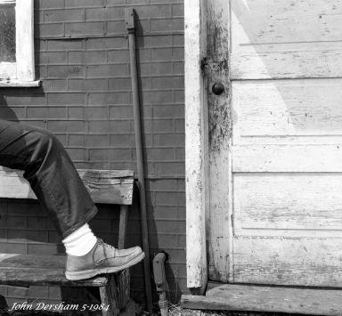 5-5-1984 Old service station near Lewistown Pennsylvania-Kids foot-Cambo SC 4x5 view camera-150mm Schneider Symmar S-Ilford HP5 4x5 film-Kodak HC110B developer.