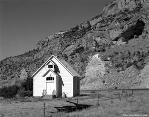 8-17-1988 Church- Rocky Bighorn Mountains- Wyoming-Linhof Technika V 4x5 camera-210mm Schneider Symmar S lens-K2 filter-Kodak T-max 100 4x5 film-HC110B developer.