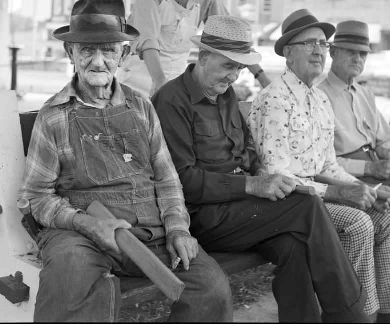 7-1976 Men Whittling at the courthouse-Lewisburg Tennessee-Yashica 635 with 75mm Yashicor lens-Kodak Plus X 120 film-Kodak D-76 developer.