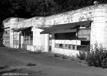 "6-10-2016 Stillwell Corner Service Station-Polk County Tennessee-Toyo 8x10M camera-Kodak 12"" Commerical Ektar lens-K2 filter- Kodak Tri X Pan Pro 8x10 film-PMK Pyro developer."