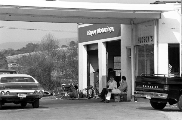 4-16-1977 Hudson's full service-near Mont Eagle Tennessee-Olympus OM1 camera-75-150mm Zuiko lens-Kodak Plus X Pan 35mm film-Kodak Microdol X developer.