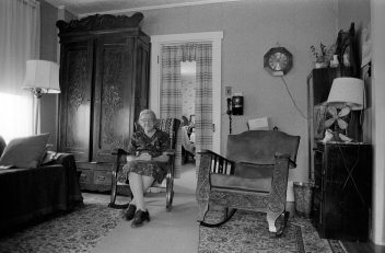 8-15-1979 Mary Shively-age 90-Mifflinburg Pennsylvania-She was born in this house and lived here tills she died at age 96-She was a lifelong friend of five generations of the Dersham family in Mifflinburg-Olympus OM1 35mm camera-28mm lens-Kodak Tri X Pan 35mm film-Edwal FG7 developer.