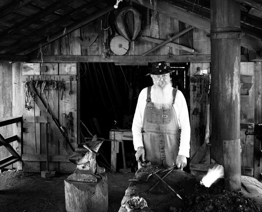 7-1993 Bill Shoemaker-Blacksmith at Tannehill State Park-Alabama-Toyo 8x10M-Fujinon 250WS lens-Kodak Tmax 100 8x10 film-PMK Pyro developer.