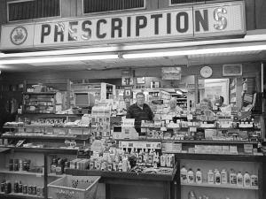 9-1998 Wikle Rexall Drug Store extablished 1893 closed 2000-Anniston Alabama-Fuji 6x9 camera-65mm Fujinon lens-Ilford HP5+ 12- film-PMK Pyro developer.