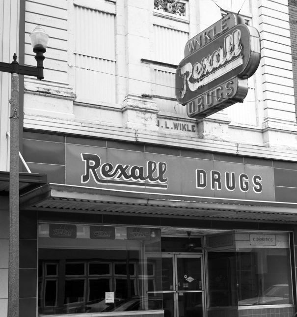 8-20-2015 Wilke Rexall Drug Store established 1893 closed 2000-Anniston Alabama-Rolleiflex 2.8F-80mm Zeiss Planar lens-Ilford Delta 100 120 film-PMK Pyro developer.