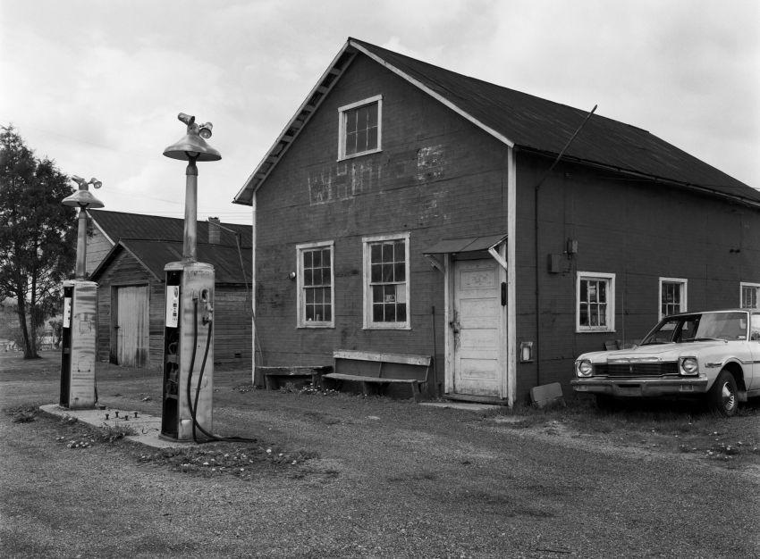 5-5-1984 Old service station near Lewistown Pennsylvania-Cambo 4x5 view camera-120mm Schnieder Symmar lens-Ilford HP5 4x5 film-Kodak HC110B developer.