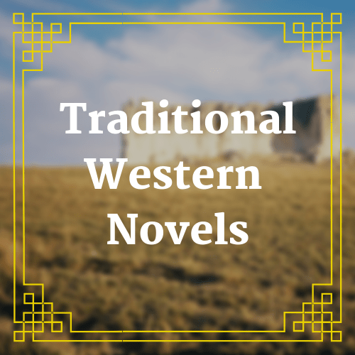 button with blurred background image and text saying traditional western novels overlaid on it