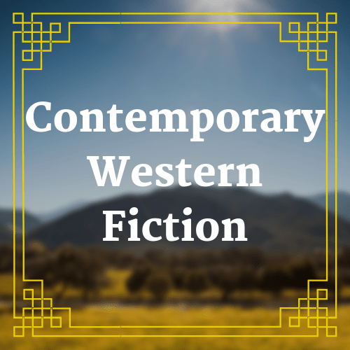 button with blurred landscape image with text saying contemporary western fiction overlaid on it