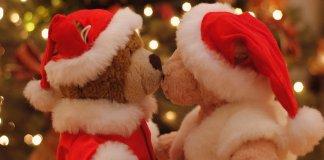 christmas bears kissing