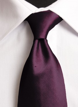 Plum Standard Tie (+ Handkerchief)